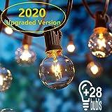 Lichterkette Außen,Lichterkette Gluehbirne Aussen,[Verbesserte Version] OxyLED G40 9 Meter Lichterkette Garten, Wasserdicht (25 Birnen,3 Ersatzbirnen, gelbliches Licht)