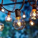 9 Meter Lichterkette Außen,Lichterkette Gluehbirne Aussen,[Verbesserte Version] OxyLED Lichterkette Garten, Wasserdicht (25 Birnen,3 Ersatzbirnen, gelbliches Licht)