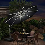 PURPLE LEAF 300 cm Sonnenschirm mit Solar LED Beleuchtung Gartenschirm Kurbelschirm Ampelschirm Terrassenschirm, Schwarz
