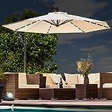 Swing&Harmonie Luxus Sonnenschirm mit LED Beleuchtung Ampelschirm 300cm / 350cm Solar Garten Schirm Pavillon (Ø 350cm, Creme)